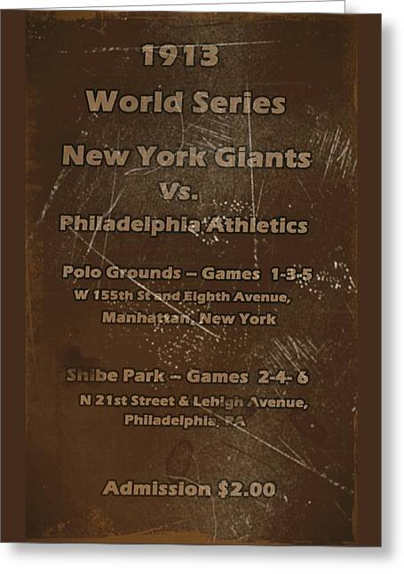 World Series 1913 Greeting Card by David Dehner