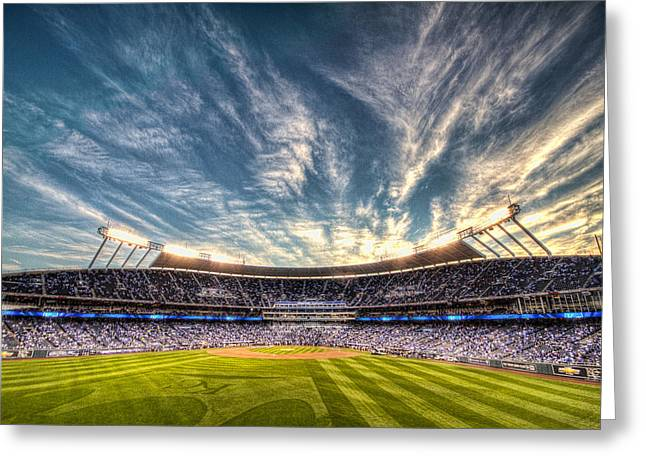 World Series Sunset Greeting Card by Corey Cassaw