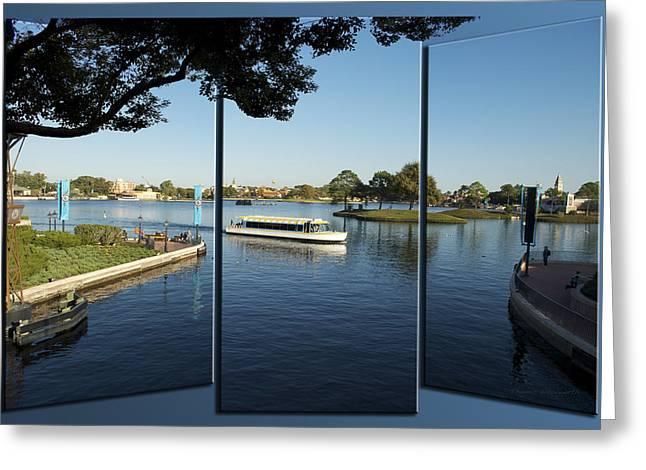 World Showcase Lagoon Boat Ride Wdw Triptych 3 Panel 03 Greeting Card