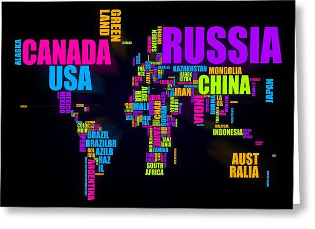 World Text Map 16x20 Greeting Card by Michael Tompsett