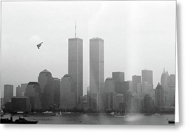 World Trade Center And Opsail 2000 July 4th Photo 18 B2 Stealth Bomber Greeting Card by Sean Gautreaux