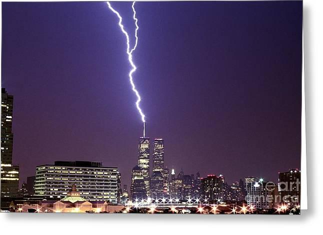 World Trade Center Lightning Full Shot Nr Greeting Card by Sean Gautreaux