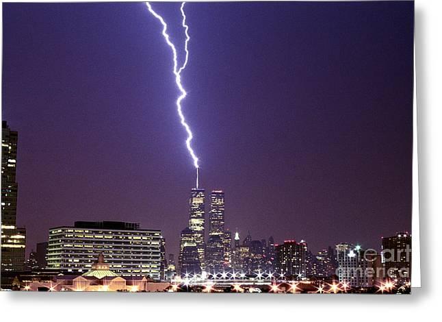 World Trade Center Lightning Full Shot Greeting Card by Sean Gautreaux