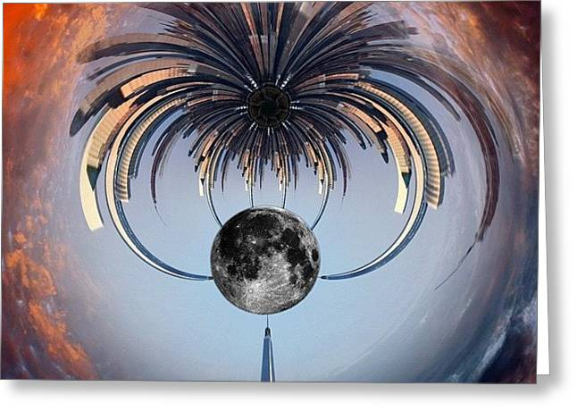 World Trade Center Tiny Planet Greeting Card by Susan Candelario