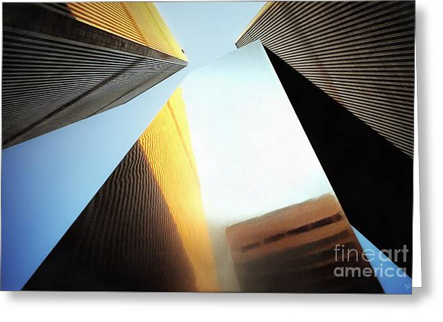 World Trade Center Towers And The Ideogram 1971-2001 Greeting Card by Nishanth Gopinathan