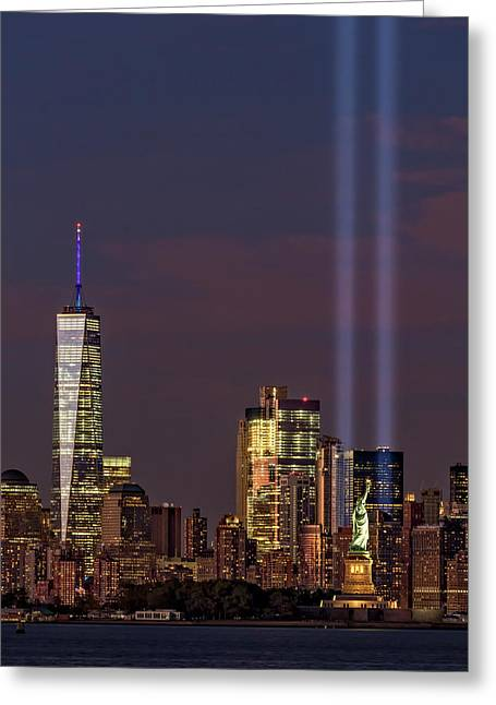 World Trade Center Wtc Tribute In Light Memorial II Greeting Card by Susan Candelario