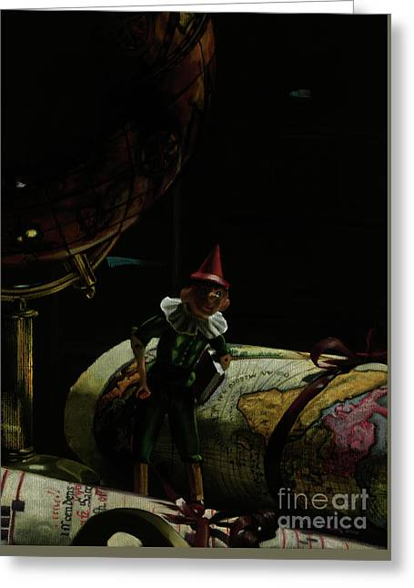 World Traveler Pinocchio Greeting Card by Kelly Borsheim