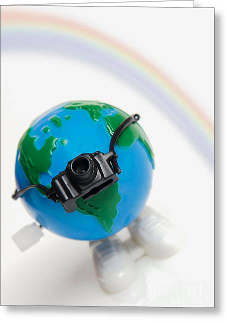 World Traveler With Camera And Rainbow Greeting Card