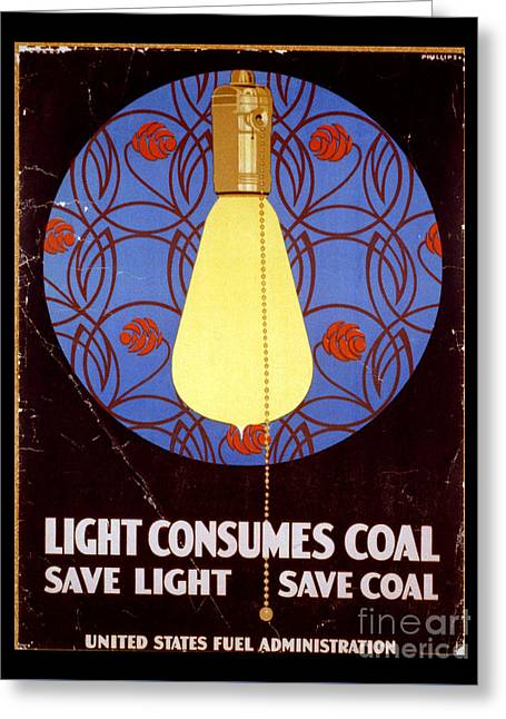World War I Light Consumes Coal Poster 1917 Greeting Card by John Stephens