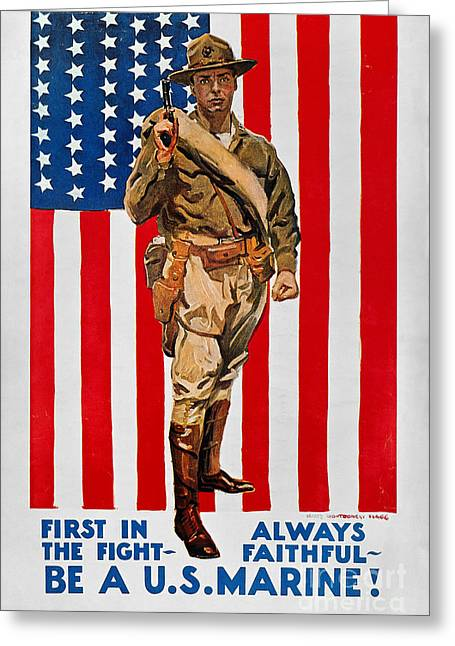 World War I: U.s. Marines Greeting Card by Granger