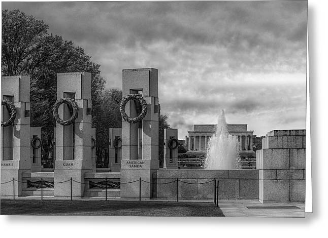 World War II Memorial Bw Greeting Card by Susan Candelario