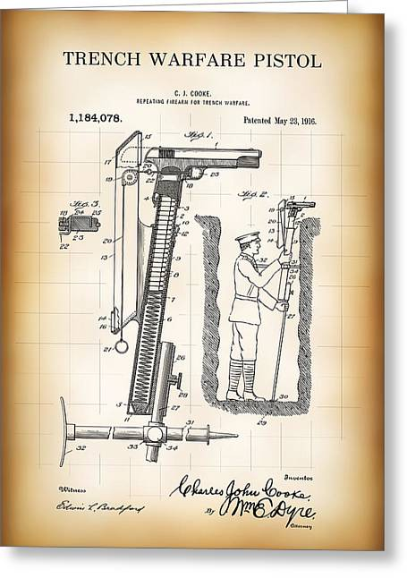 World War One Trench Warfare Pistol 1916 Greeting Card by Daniel Hagerman
