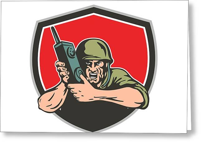 World War Two American Soldier Field Radio Shield Greeting Card by Aloysius Patrimonio