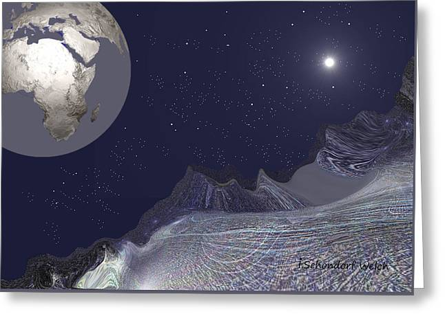 Greeting Card featuring the digital art 1657 - Worlds - 2017 by Irmgard Schoendorf Welch
