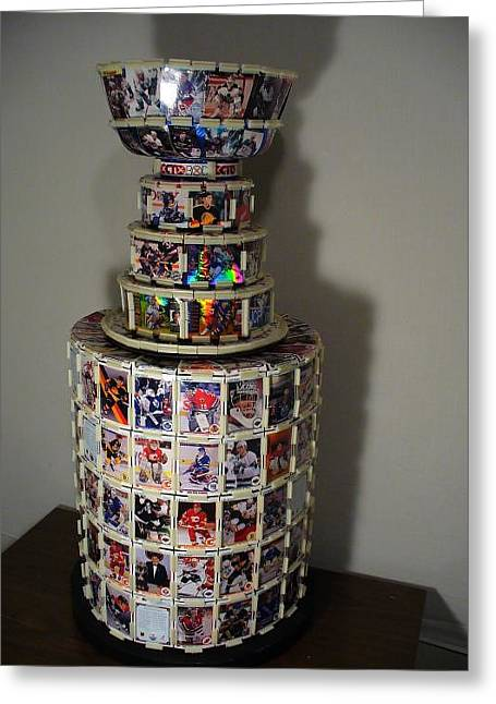 Worlds First Nhl Hockey Card Stanley Cup Greeting Card by Pjohn Artman