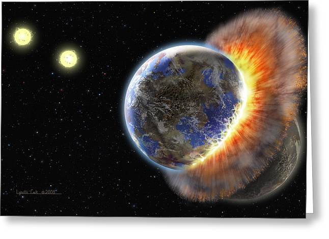 Mixed Media Greeting Cards - Worlds in Collision Greeting Card by Lynette Cook