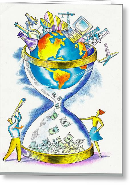 Worldwide Investing And Profit Greeting Card by Leon Zernitsky
