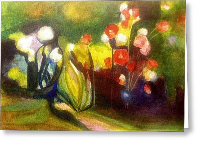 Greeting Card featuring the painting Warm Flowers In A Cool Garden by Nicolas Bouteneff