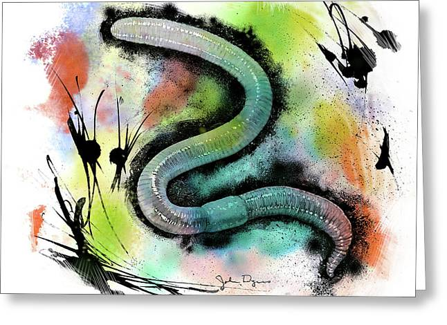 Worm Illustration Greeting Card