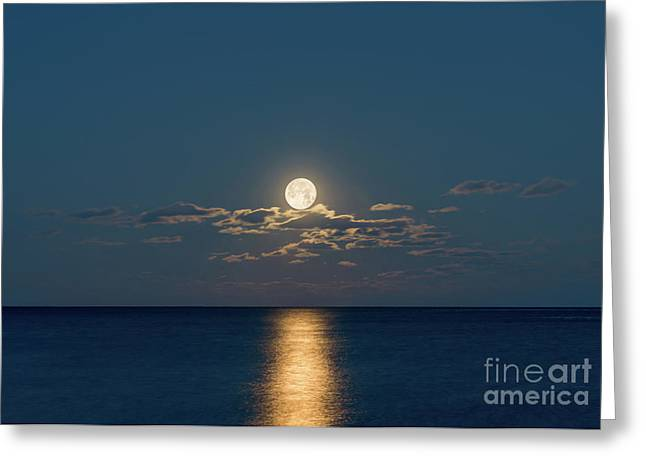 Worm Moon Over The Atlantic Greeting Card