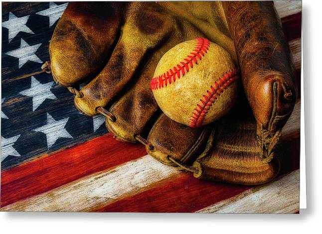 Worn Ball And Mitt Greeting Card by Garry Gay