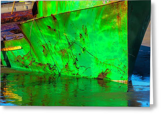 Worn Beached Green Fishing Boat Greeting Card
