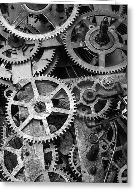 Worn Gears Black And White Greeting Card