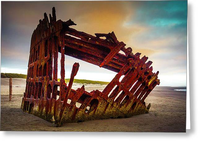 Worn Rusting Shipwreck Greeting Card by Garry Gay