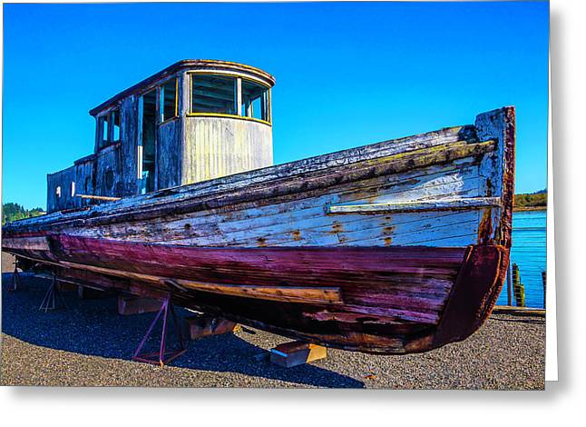 Worn Weathered Boat Greeting Card by Garry Gay