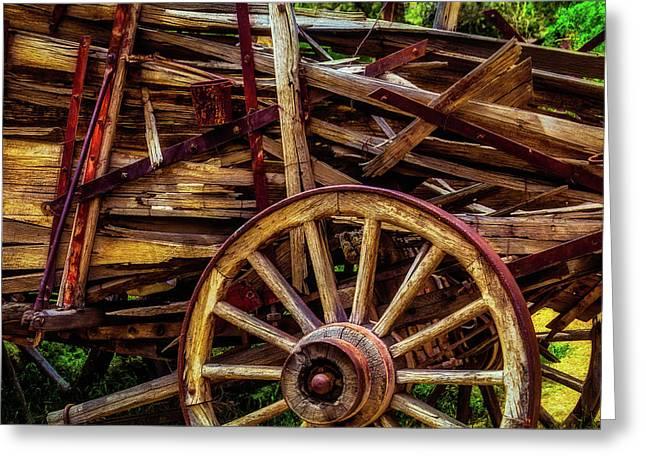 Worn Western Wagon Greeting Card