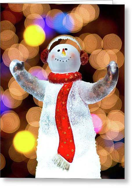 Worshiping Snowman Greeting Card