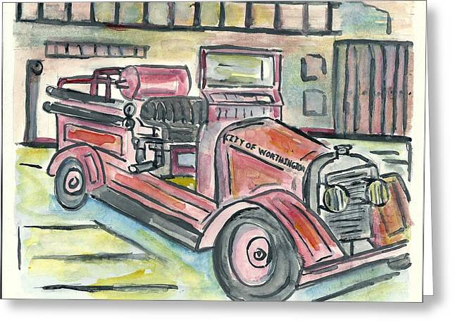 Worthington Fire Engine Greeting Card