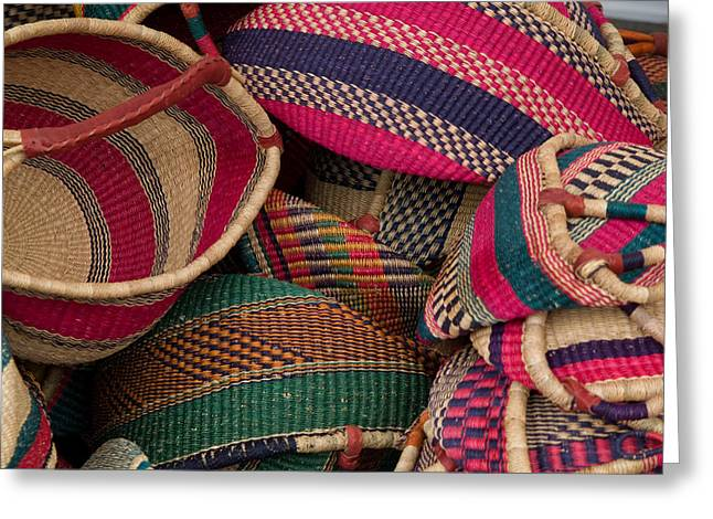 Woven Baskets Greeting Card by Walter Beck