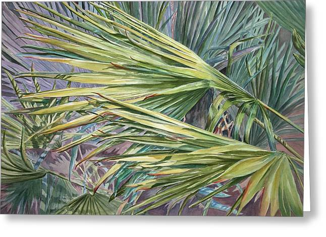 Greeting Card featuring the painting Woven Fronds by Roxanne Tobaison