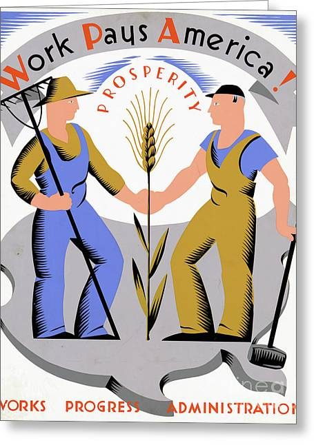 Wpa Poster Greeting Card by Granger