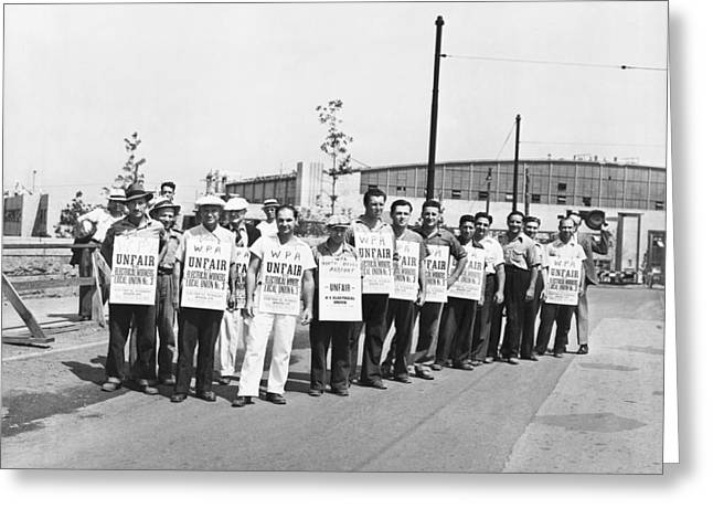 Wpa Strikers Greeting Card by Underwood Archives