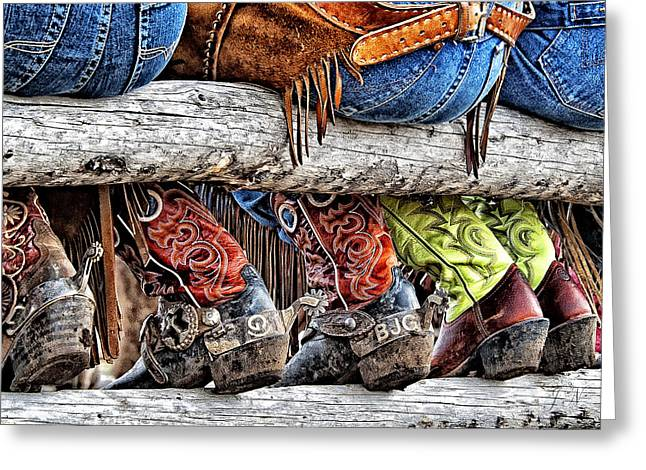 Wrangler Boots Butts And Spurs Greeting Card