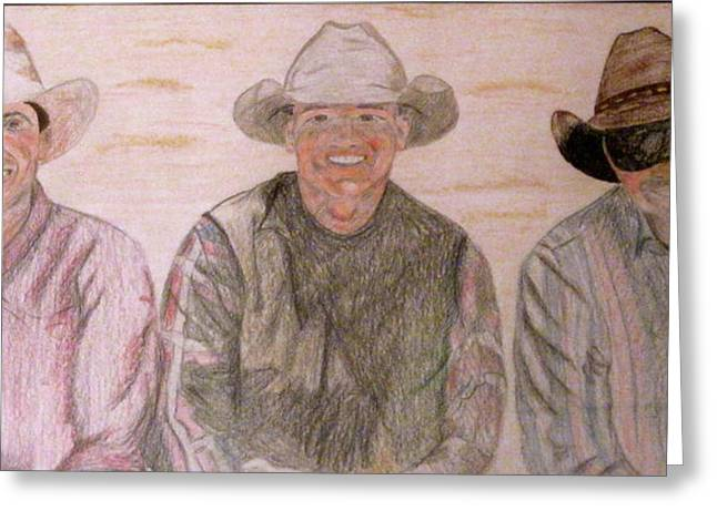 Greeting Card featuring the drawing Wranglers From Elkhorn by Rebecca Wood