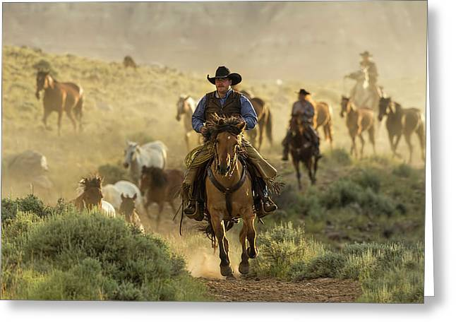 Wrangling The Horses At Sunrise  Greeting Card