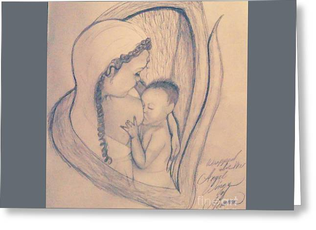 Wrapped Within The Angel Wings Of Momma Greeting Card by Talisa Hartley