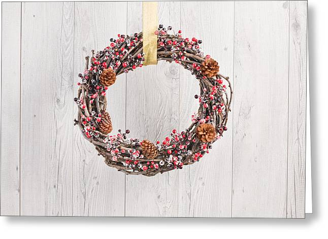 Christmas Eve Greeting Cards - Wreath in autumn decoration Greeting Card by Ulrich Schade