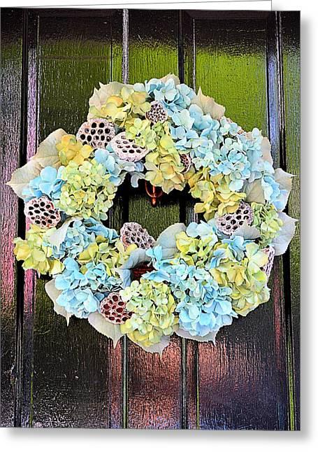 Entrance Door Greeting Cards - Wreath of Savannah Greeting Card by Linda Covino