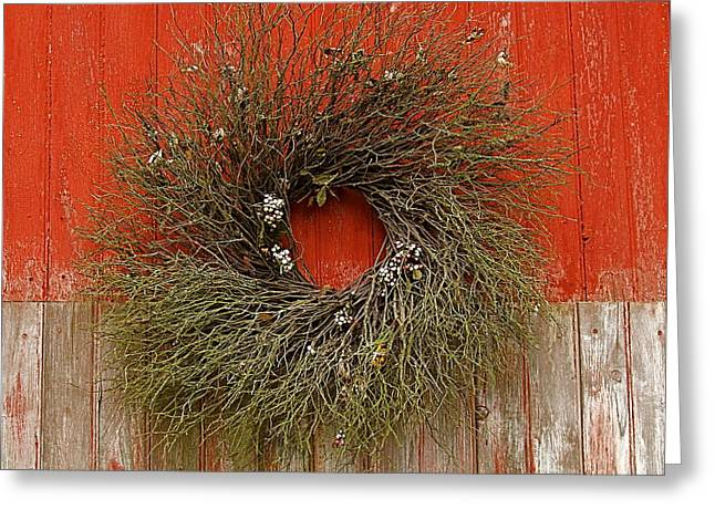 Greeting Card featuring the photograph Wreath On The Barn by Nicola Fiscarelli