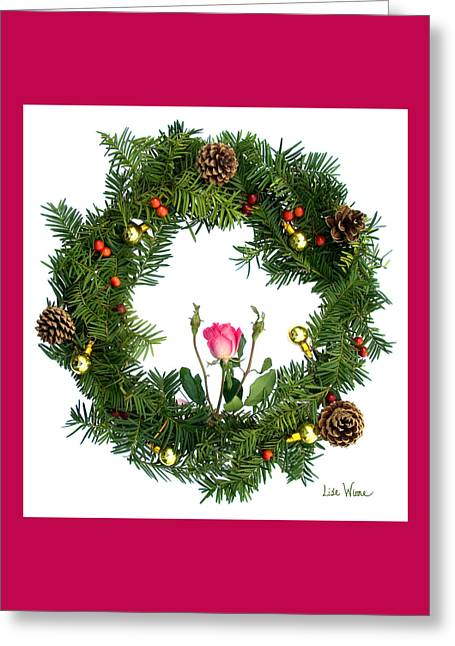Wreath With Rose Greeting Card by Lise Winne