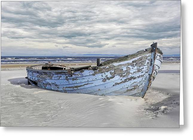 Wreck Of A Barge On A Baltic Beach Greeting Card
