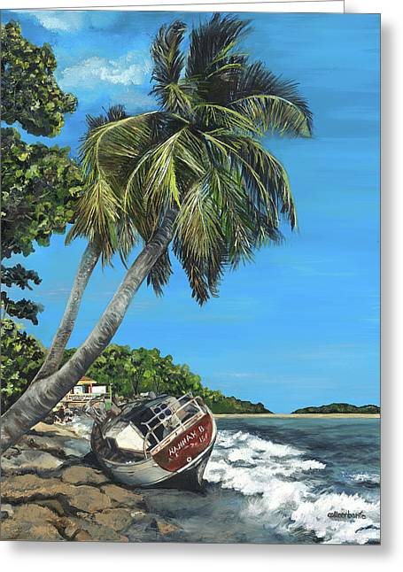 Wrecked In Paradise Greeting Card