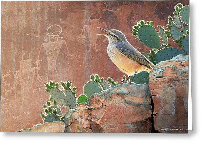 Wren At Capitol Reef Petroglyphs Greeting Card by R christopher Vest