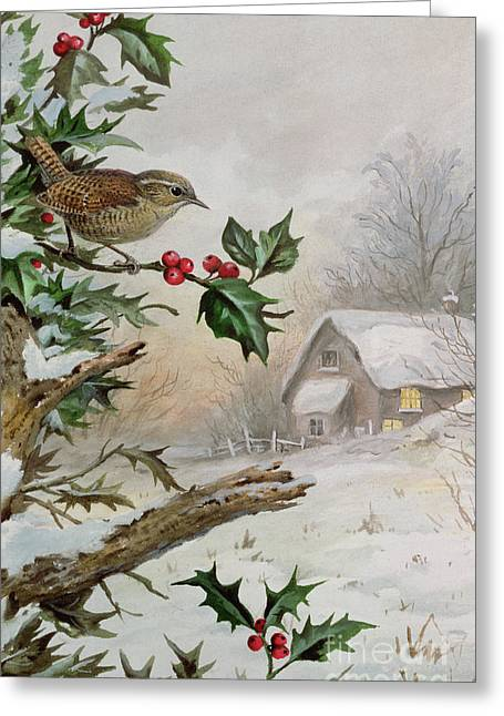 Wren In Hollybush By A Cottage Greeting Card