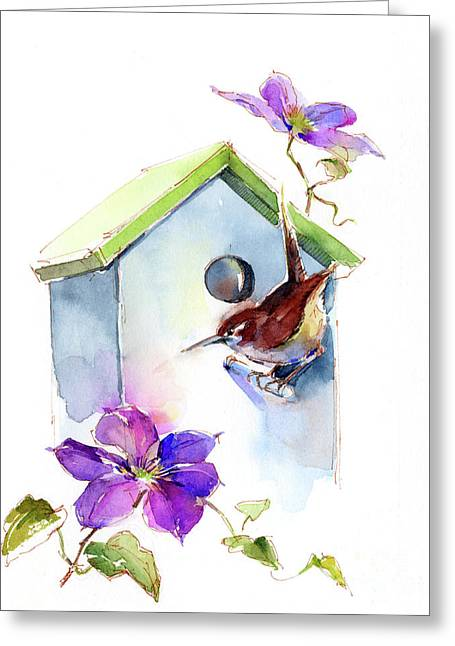 Wren With Birdhouse And Clematis Greeting Card