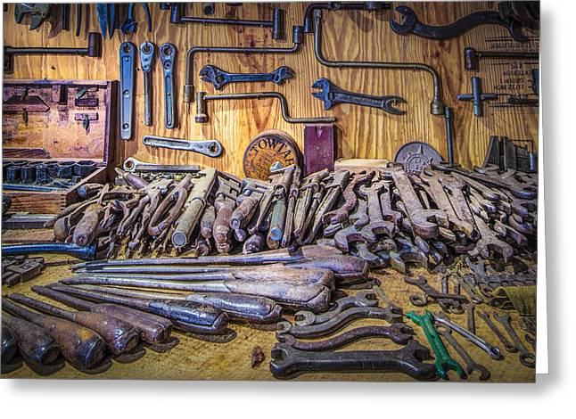 Wrenches Galore Greeting Card by Debra and Dave Vanderlaan
